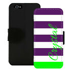 PERSONALIZED WALLET CASE FOR iPHONE 5 5S SE 6 6S PLUS PURPLE LIME GREEN STRIPES