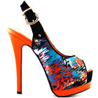Orange/Purple PeepToe Double Platform Stiletto Slingback Pump Size 4/5/6/7/8/9