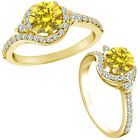 1.25 Carat Yellow Diamond Fancy Halo Eternity Wedding Women Ring 14K Yellow Gold