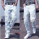 Mens Leisure Light Ripped Holes Washed Denims Jeans White Pants Trousers Stylish