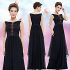 Women's Elegant Black  Round Neck Long Evening Party Formal Prom Dress 08806
