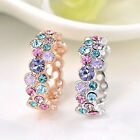 Fashion Women 925 Silver Crystal Ring Colorful Jewelry Wedding Ring New