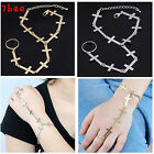 Lady's Fashion Gold Silver Metal Cross Link Chain With Ring Bracelet NEW Gift