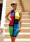 Womens New Sexy Color Block Twist Sleeveless Racer Back Couture Bandage Dress