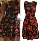 New Stylish Sexy Women Sleeveless High Waist Floral Summer Party  Mini Dress