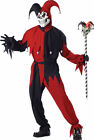 Deluxe Mens Scary Devious Evil Jester Clown Up Halloween Party Costume 746