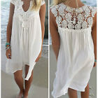 Women Summer Lace Loose Short Sleeve Mini Dress Casual Loose Sundress Newest