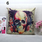 1Pc Colorful Flower Skull Square Pillow Case Vintage Bed Car Sofa Cushion Cover