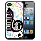 MONOGRAMMED RUBBER CASE FOR iPHONE 5S 5C SE 6 6S 7 PLUS MUSIC NOTE TREBLE CLEF