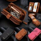 Removable Luxury Flip Leather Zipper Wallet Cards Case Cover For Samsung &iPhone