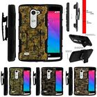 For LG Power | Destiny | Risio Rugged Holster Clip Stand Case Abstract Camo