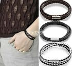 Vintage Punk Women Men Leather Multilayer Wrap Cuff Bangle Bracelet Jewelry Gift