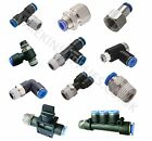 NPT Pneumatic Push In Fittings for Air/Water Hose & Tube **ALL SIZES AVAILABLE**