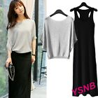 Womens Spring Autumn Short Sleeve Full Dress Slim Korean Casual 2 Pics Knitwear