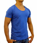 NEW MENS PLAIN BLUE MARLE DEEP SCOOP NECK T SHIRT FASHION CASUAL S - XL GYM