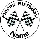 """Personalised Birthday Fomula 1 Checkered Flag Round 8"""" Precut Icing Cake Topper"""