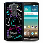 PERSONALIZED RUBBER CASE FOR LG G3 G4 G5 BLACK NAME ALL OVER