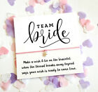 Team Bride Wish String Bracelet Wedding Favors Favours card Hen Party 136