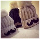 Hottest Women's Cold Winter Mustache Warm Fox Fur Knitting Wool Beanies Hat Cap