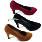 s11xe00 New Womens Shoes Platforms High Heels Pumps Faux Suede Red Black Brown