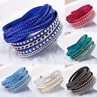 Leather Wrap Wristband Cuff Punk Crystal Rhinestone Multilayer Bracelet Bangle