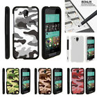 For HTC Desire 520 Case Hard Snap On 2 Piece Slim Shell Army Camouflage