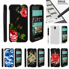 For HTC Desire 520 Case Hard Snap On 2 Piece Slim Shell Red Roses