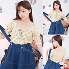 Romantic Floral 3/4 Sleeve Off Shoulder With Lace Shirt Top Blouse Yellow
