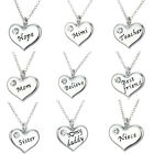 Family X'mas Gifts Crystal Love Heart Pendant Necklace Chains Jewelry Charms New
