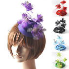lady fascinator feather hair accessory pillbox hat clip flower party proms derby