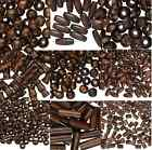 BULK 500 Dark Brown Wood Beads Bead Tibe Round Oval Rise MANY SIZES 500 Qty