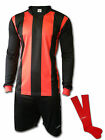 Ichnos teamwear football team kit shirt shorts socks black red stripes