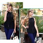 Fashion Lace Chiffon Vest Women Bodycon Sexy Tank Tops O Neck Hollow sleeveless