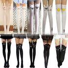 Sexy Black White Cat Tattoo Socks Sheer Pantyhose Mock Stockings Tights S1