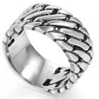 10MM Size 7-15 Stainless Steel Biker Ring Band Chain Linked Cocktail Punk Rocker