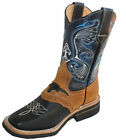 Men cowboy boots Genuine Cowhide Leather square toe rodeo western BOOTS $58.99