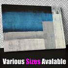 AB290 Blue Abstract Blocks Canvas Wall Art Ready to Hang Picture Print Y