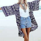 Women Retro Floral Casual Loose Chiffon Cardigan Tops Jacket Coat Blouse Fashion