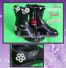 Girls Boots Adams Fashion Faux Leather Boots Black with Flowers New