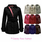 NEW LADIES QUILTED BELTED LONG SLEEVE PADDED ZIP JACKET COAT TOP PLUS SIZE 8-20