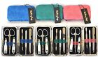 6 PIECE NAIL KIT SET PYTHON EMBOSSED LEATHERETTE BLUE+PINK,CLIPPERS+FILE+ETC