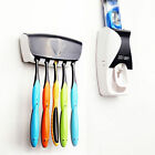 Automatic Toothpaste Dispenser Squeezer Toothbrush Holder Stand Wall Mount Rack