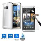 9H Premium Real Tempered Glass Screen Protector + TPU Case Cover For HTC Models