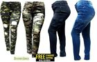 IQ WOMENS PLUS SIZE Stretch Distressed Ripped Camo Camouflage Skinny JEANS PANTS