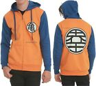 Dragon Ball Z Kame Symbol Contrast Zip Hoodie For Adults Free Ship