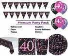 Pink Sparkling 40th Birthday 8-48 Guest Premium Party Pack Tableware Decorations