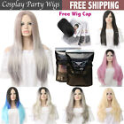 Womens Wigs Synthetic Long Curly Wavy Blonde Golden Gray Black Full Hair 70cm