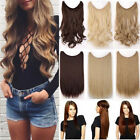Natural Real Natural Fish Line Wire Headband Hair Extensions Extension Clips B92