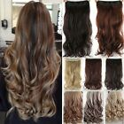 UK One Piece Full Head Clip in Thick Human Hair Extensions Wavy Straight Thick l
