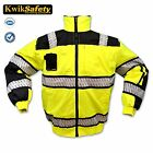 Hi Vis ANSI C 3 Reflective Bomber Safety Jacket Fishbone Waterproof Weatherproof